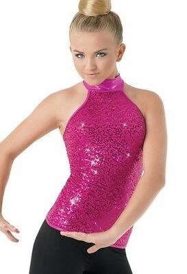 Pink Sequin Dance Costume Top, Pageant Top Child Medium Style SQ7006