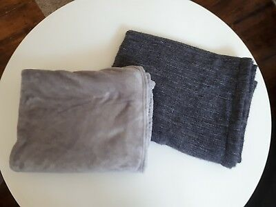 2 x GREY THROWS BLANKETS PERFECT FOR UNIVERSITY STUDENTS OR NEW HOMES