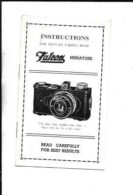 Vintage Falcon Deluxe Miniature Camera Instructions Booklet