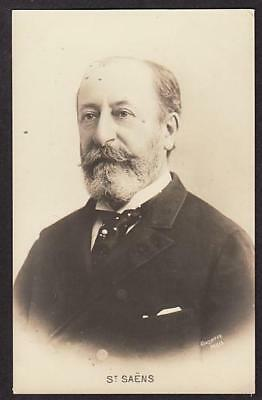 REAL PHOTO POSTCARD CAMILLE SAINT SAENS FRENCH COMPOSER CONDUCTOR PIANIST c1910