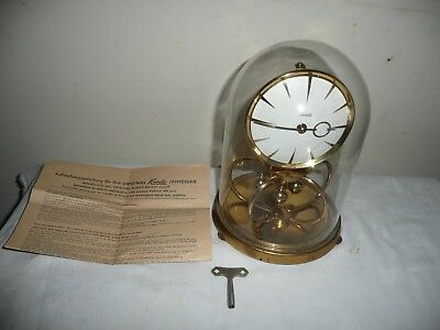 Vintage Kundo Anniversary Clock in Glass Dome, Miniature Movement. Restoration.