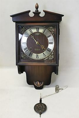 PRESIDENT Wooden Brown Wall Clock Strike & Pendulum Movement Requires Service