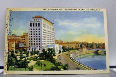 Ohio OH Columbus State Office Building Grounds Postcard Old Vintage Card View PC