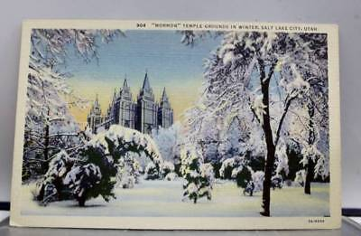 Utah UT Salt Lake City Winter Mormon Temple Grounds Postcard Old Vintage Card PC