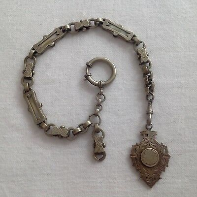 Antique Solid Silver & Mother of Pearl Watch Chain with Hallmarked Fob Circ 1902