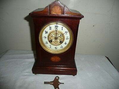 Antique, French Mantle Clock in Beautiful Inlaid Case, Works but Needs Attention