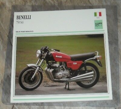 Atlas Editions Motorcycle Info Card 1977 BENELLI SEI 750 6-cylinder