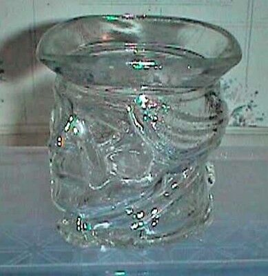 Avon Clear Glass Man's Head Candle Holder