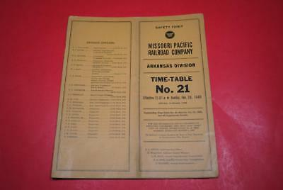 1949 Missouri Pacific Arkansas Div ETT #21 EXC-Great Post War Info!