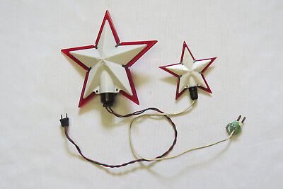 2 Vintage Christmas Tree-Topper Red/white 5-Pointed Plastic Star Lights