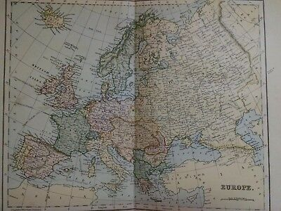 c 1899 Antique Map of Europe-Spain,France,Italy,Germany,United Kingdom Sweden
