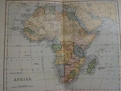 c1899 Antique Map of Africa-Algeria, Egypt, Congo, Zanzibar,Tripoli, Cape Colony
