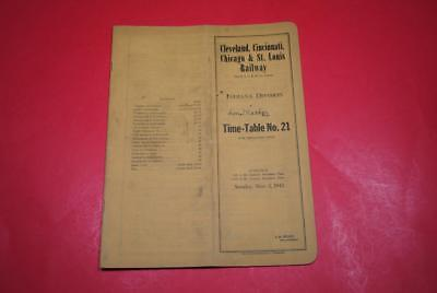 1942 New York Central Indiana Div ETT #21 VGC-Great Wartime Era Info w/Map!