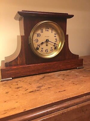 Antique Seth Thomas Flat Top Rosewood Adamantine Mantle Clock With Provenance