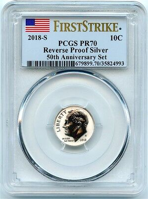 2018-S Silver Reverse Proof Roosevelt Dime, PCGS PR-70 First Strike, Flashy Coin