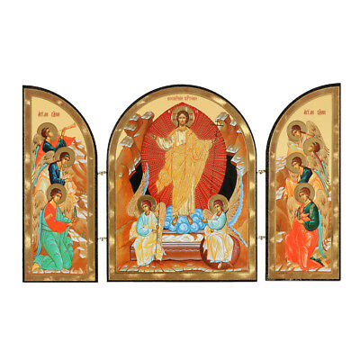 "Resurrection of Christ Russian Wooden Icon Triptych 7 3/4"" Wide Easter Gift NEW"