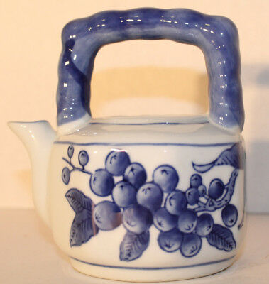 Nantucket Blue and White Porcelain Fruit and Flowers Teapot