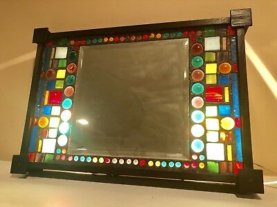 Antique Vintage Arts Crafts Stained Glass Mirror Wall Mount Wood Lighted