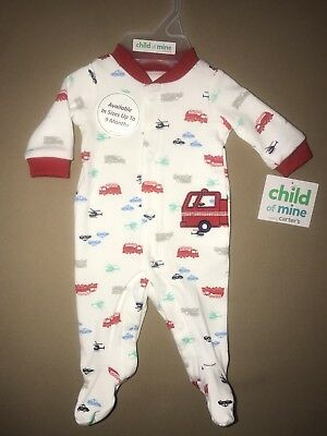 Child Of Mine Newborn Baby Boys Cars Long Sleeve Footed Bodysuit, NEW WITH TAGS!