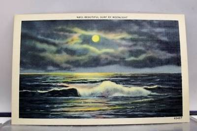 Scenic Surf by Moonlight Postcard Old Vintage Card View Standard Souvenir Postal