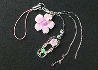 New Cell Phone Charm Strap For Mobile Pink Enamel Flower Crystal Free Shipping