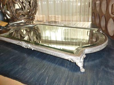 "Vintage Plateau Display Mirrror Footed Silver Tone Metal Beveled Glass 12""X 21"""