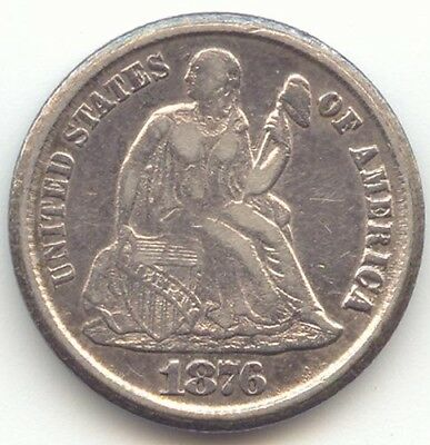 1876-CC Seated Liberty Dime, XF Details, Struck from Rusty Dies, F-131a