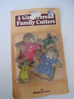 Vintage Fox Run Gingerbread Cookie Cutters Family Set Woolworth