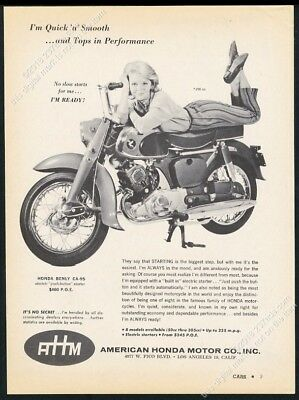 1960 Honda Benly CA95 CA-95 motorcycle and smiling woman photo vintage print ad