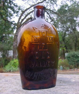 """Rare 1870s  """"AAA / OLD VALLEY / WHISKEY"""" Western Flask!"""