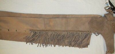 New Fringed Leather Tan Brown Biker Motorcycle Chaps Jean Pocket Sizes