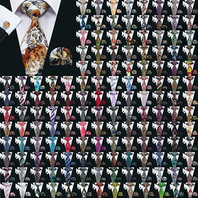 Classic 200 Colors Blue Red Write Pink Floral Solid Mens Silk Tie Necktie Set