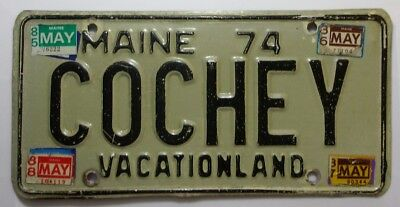 1974 Maine Vanity License Plate  # COCHEY