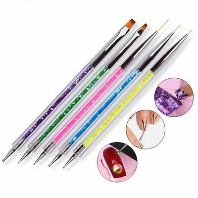 5Pcs UV Gel Nail Art Design Set Dotting Painting Drawing Polish Brush Pen Tools