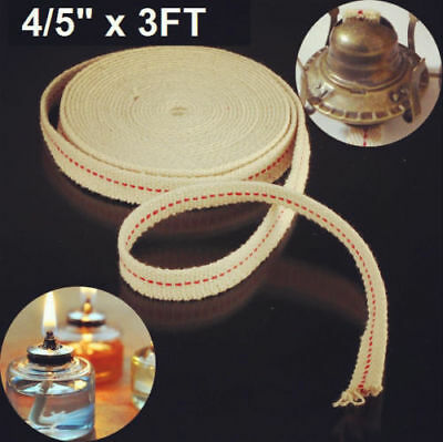 4/5'' x 3.3ft Feet Replacement White Flat Cotton Wick For Oil Lamps & Lanterns -