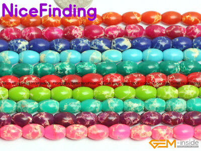 6x9mm Assorted Color Olivary Sea Sediment Jasper Agate Beads Jewelry Making 15""