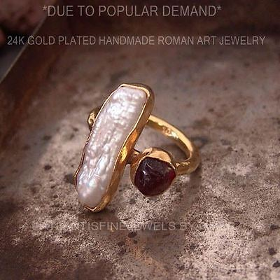 Free Sizing* 925k Silver Roman Art Ruby & Pearl Ring 24k Gold Plated Omer