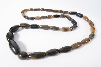 Strang Achatperlen Anthrazit grau R4 Grey Agate Stonebeads African trade Afrozip