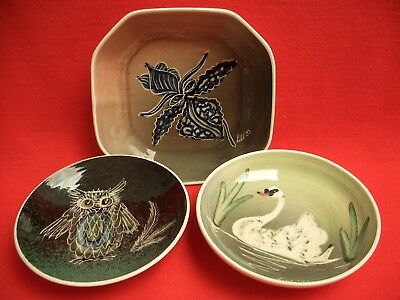3 Lester Alum Bay Ceramics/totland Isle Of Wight Pottery Swan-Owl-Flower Dishes