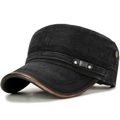 Mens Outdoor Cotton Sunshade Military Army Cap Adjustable Durable Flat Top Hat