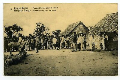 "Belgian Congo PPC ""Gathering for Work"" addressed to Zurich Switzerland 1917"
