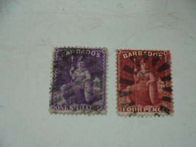 Babados 2 stamps Early QV 4d & 1/- watermark crown CC FU