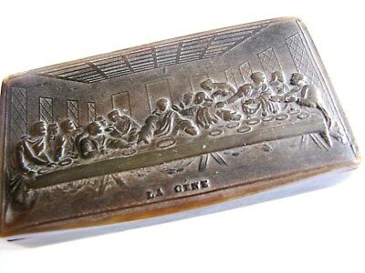 """French  pressed cattle horn snuff box """" the last supper """""""