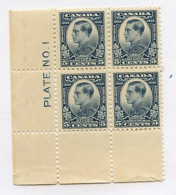 Canada 1932 Prince of Wales 5c dull blue Plate 1 #193 MNH