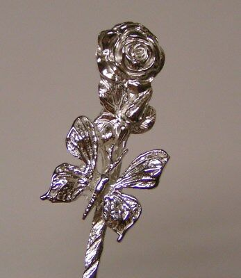 Salt Spoon Sterling Silver ( Butterfly on Rose  )