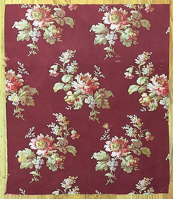 Beautiful 19th Century French Floral Cotton Printed Fabric (2108)