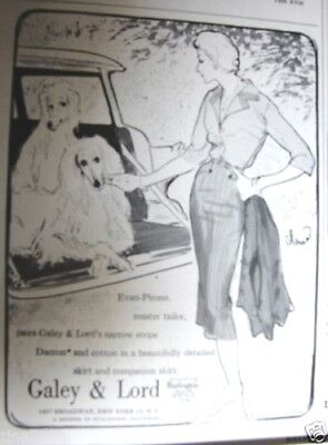 1958 GALEY & LORD Wms Fashions AFGHAN HOUNDS colonna art,Jerry Lewis in car Ad