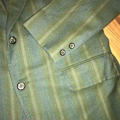 Vtg 60s 70s LaCrosse Gray Green STRIPED Mens SMALL Sport Coat Jacket Suit Blazer