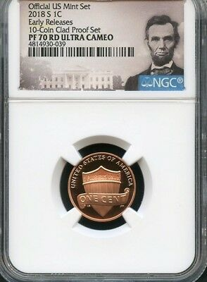 2018 S Lincoln Penny E.R. From 10-Coin Clad Set NGC PF70 RD U.C. (POR)