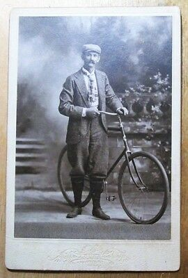 Vintage 1880's Cabinet Card Photograph Wheel Man With Bicycle